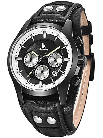 Alienwork Quarz Armbanduhr Multi-funktion Uhr Herren Uhren vintage sport Leder schwarz K008GA-01