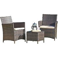 Thompson & Morgan Garden Bistro Set Rattan Furniture Outdoor Table & Chairs Machine Washable Cushions (Brown)