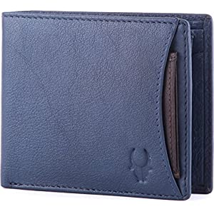WildHorn® RFID Protected  Genuine High Quality Leather Wallet for Men(BLUE)