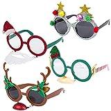4er Packung verschiedene Neuheit Weihnachten Verkleidung Hängen Brillen