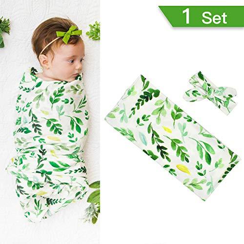 ckeln Decke und Stirnband Blumen süße weiche empfangen Decken Schlafsack Wrap Set Fotografie Prop Geschenke für Kleinkinder Jungen oder Mädchen Baby ()