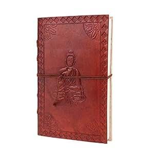 Jour cadeau de Mère, Cuir Carnet de Voyage Journal ordinateur portable avec la conception de Bouddha en relief et des papiers faits la main