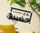 Wandtattoo Skyline Lingen Stadt Stamps Briefmarke Marke Wand Aufkleber Türaufkleber Möbelaufkleber Autoaufkleber Wohnzimmer 5M212, Farbe:Königsblau Matt, Breite vom Motiv:80 cm