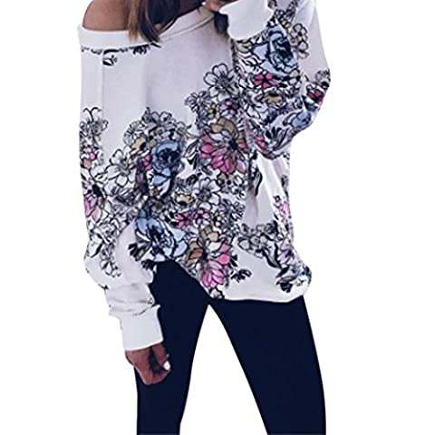 DAYLIN Woman Flower Print Casual Long Sleeve Oblique Off Shoulder Blouse Tops (M)
