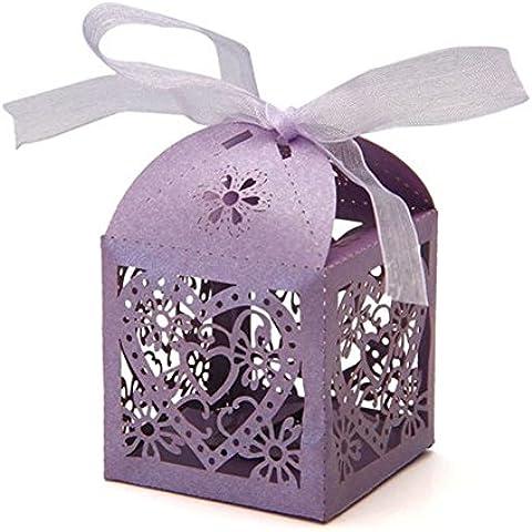 G & K 50pc cuore taglio laser Candy scatole regalo con nastro matrimonio festa chiaro viola