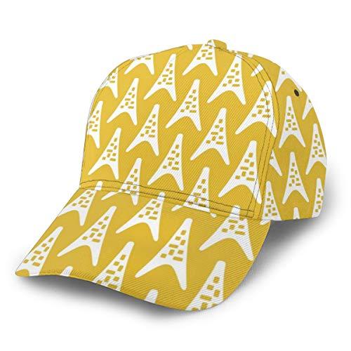Liliylove Mid Century Moderner Boomerang Dreieck-Muster Senfgelb Verstellbare Baseballkappe Damen Herren Baseballmütze für Laufen, Radfahren, Wandern, Golf