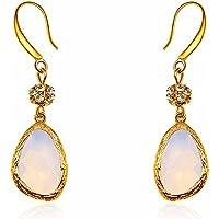 Bling Jewelry-Orecchini da sposa, zirconia cubica pavé, perla simulata-Orecchini a goccia con elementi in cristallo - Multi Orecchini A Cristallo Di Colore