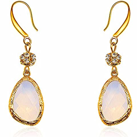 Bling CZ Tear Drop Dangle Earring Wedding Jewellery Austrian Crystal Zircon Color White