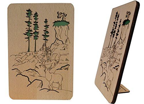 "LIN-Holzkarten ""Grußkarten aus Holz"" , Geburtstagskarten, Glückwunschkarten für Jäger, Wandertouren Gutschein, Grußkarten ""Berge"", 3D Karten mit Berglandschaft (N606)"