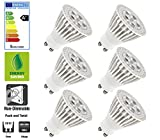 6 Pack: Allcam 5W Ultra Bright GU10 LED Bulbs Warm White 3000K, Replace 40W-50W Halogen, 50mm Height, Perfect as LED Spotlight & Downlights