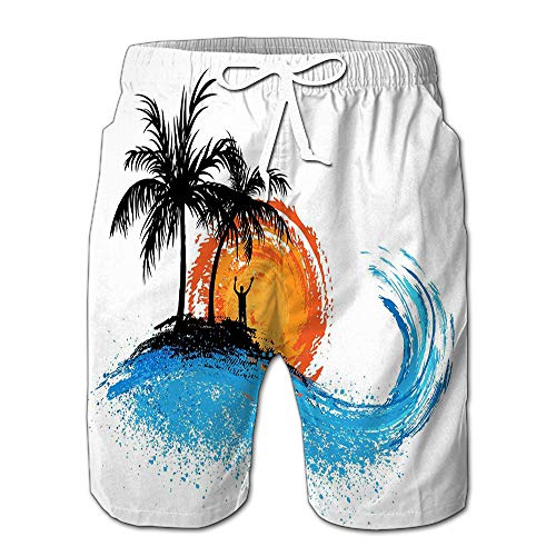 Mens Slim Fit Quick Dry Short Swim Trunks Palm Trees Ocean Wave Sunset Swimsuit Or Athletic Shorts Adults Boys M - Palm Tree Swim Trunks