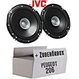 Peugeot 206 - Lautsprecher Boxen JVC CS-J610X - 16cm Auto Einbauzubehör 300Watt Koaxe KFZ PKW Paar - Einbauset