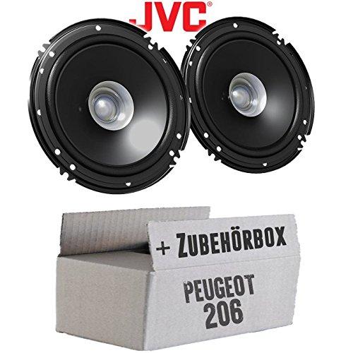 Lautsprecher Boxen JVC CS-J610X - 16cm Auto Einbauzubehör 300Watt Koaxe KFZ PKW Paar - Einbauset für Peugeot 206 - JUST SOUND best choice for caraudio