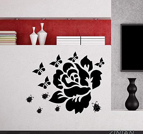 Hanjiming Blume Aufkleber Schlafzimmer Schmetterling Beatle Wandaufkleber Haus Schmücken Wohnzimmer Selbstklebende Tapete Moderne Dekor Wandbilder