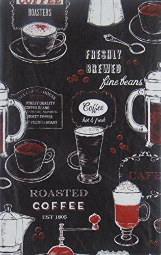 Frisch gebrühten gerösteten Kaffee Vinyl Flanell Rückseite Tischdecken, Vinyl, schwarz, 52 Inches X 52 Inches Square