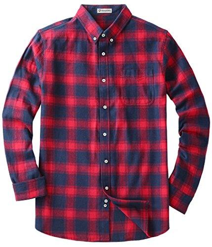 Mocotono Herren Langarm Kariertes Hemd Baumwolle Flanell Hemd mit Super Qualität Rot und Dunkelblau