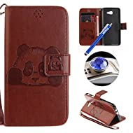 Samsung Galaxy J5 Prime Strap Leather Case,Samsung Galaxy J5 Prime Wallet Case,Etsue Cute Funny Pressed Panda Design Folio Magnetic Strap Bookstyle Leather Wallet Case Cover with Soft Inner and Card Slots for Samsung Galaxy J5 Prime+Blue Stylus Pen+Bling Glitter Diamond Dust Plug(Colors Random)-Panda,Coffee