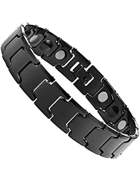 Elegante Herren 's Schwarz massives Wolfram Link Armband mit Magnet