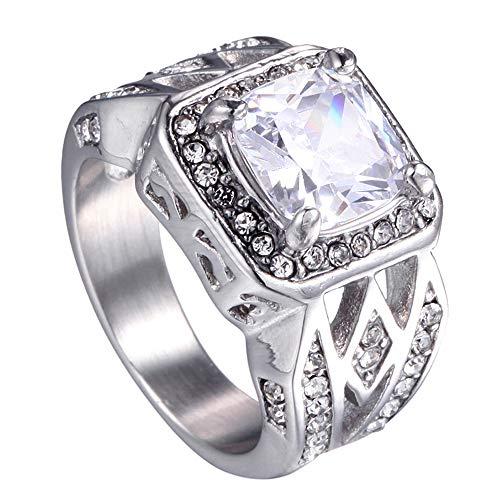 Quoouz Herren Silber Retro Titan Stehlen Persönlichkeit Diamant Ringe,Weiß,Größe 57 (18.1) (Diamant-herren Ring)
