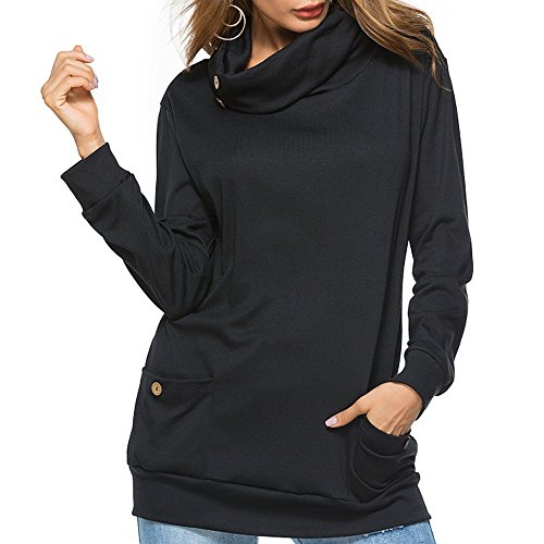 Closhion Women's Long Sleeve Casual Sweatshirts Tunic Shirt Cowl Neck Jumper Top