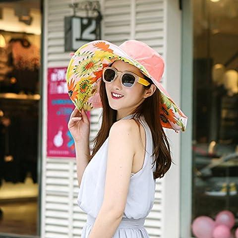 Upper-Protection Sun Hat version Corée Hat folding Beach vacances d'UV solaire jeunesse 55-58cm,chapeaux,orange tournesol