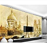 Wallpaper European Classical Paris Tower Architecture Tv Backdrop Living Room Bedroom For Walls 3 D Silk Cloth-(W)500x(H)280cm