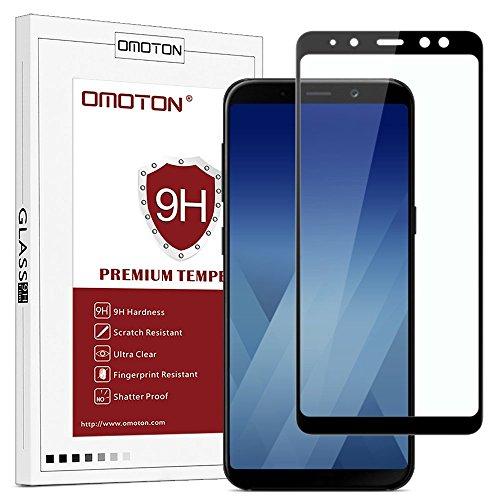 OMOTON Panzerglas Schutzfolie für Samsung Galaxy A8/A5 2018, volle Abdeckung, Anti- Kratzer, Bläschenfrei,9H Härte, HD-Klar, schwarz