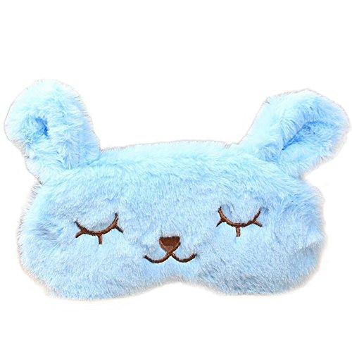 Lumanuby 1 Stück Augenmaske mit Kühlkissen Plüsch Tuch Material Schlafbrille Süßes Kaninchen-Form-Design Eye Mask Nützliches Werkzeug für Schlaflosigkeit Patienten/Traveller, ca.20 * 10cm, Blau Farbe