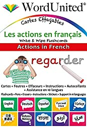 Actions in French - Write & Wipe Flashcards with Multilingual Support