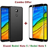 Like It Grab It [Full Coverage] 4 Cut Rubberised Matte Hard Case All Sides Protection 360 Degree Sleek Back Cover For Xiaomi Redmi Note 5 / Mi Note 5 / Redmi Note5 + 2.5D Curved 3D Edge To Edge Full Screen Tempered Glass Mobile Screen Protector (Black)
