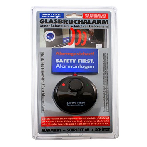 Glasbruchalarm mit LED Glasbruchmelder Einbruchschutz Alarmanlage (1Stück-Schwarz)