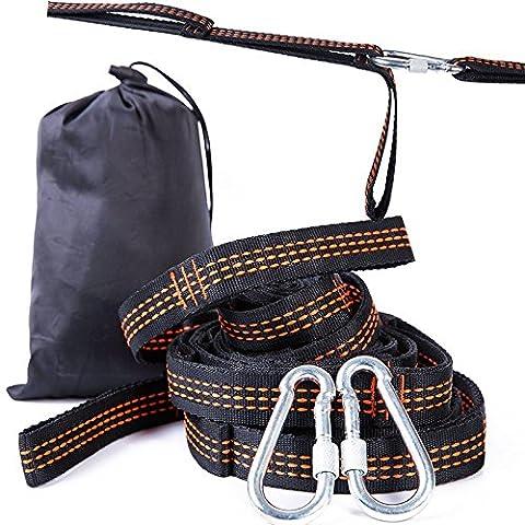 Double hamac Arbre Sangles léger Hamac Arbre Sangles Portable haute résistance en nylon ultraléger réglable Voyage à suspendre pour camping randonnée kit