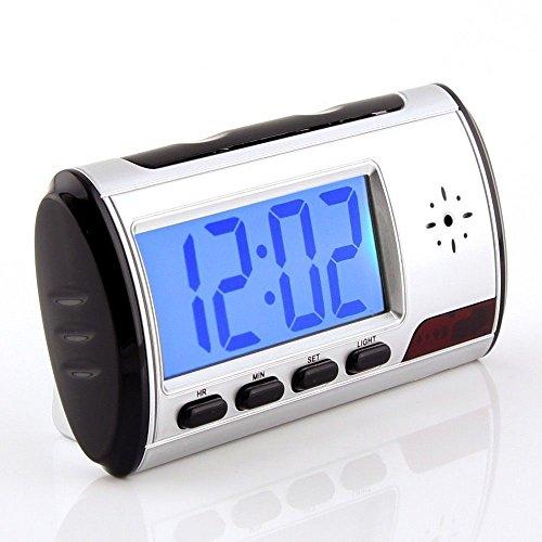 Kleine mini HD spionage Digitaluhr Überwachungskamera mit Bewegungserkennung (motion detection) | Spy-cam | Hidden Camera | Baby Heim Überwachung | Spionage-kamera | Spy clock Farbe: schwarz/silber HOKATec EC111