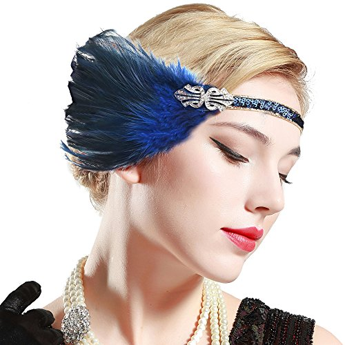 band Damen Gatsby Kostüm Accessoires 20er Jahre Flapper Feder Haarband (20er Jahre Flapper Halloween Kostüm)