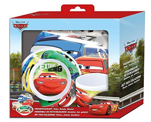 POS 68791088 - Frühstücksset mit Disney Pixar Cars Motiv, 3 teiliges Geschirrset für Kinder bestehend aus Teller, Schale und Tasse, stabiles Melamin, bpa- und phthalatfrei, spülmaschinengeeignet