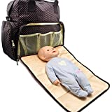 Minch Polka Dot Diaper Bags-LD13 Baby Fashionable Polka Dot Diaper Bags Backpack Designer - For Girls Dads Twins Mom-Changing Pad (Coffee)