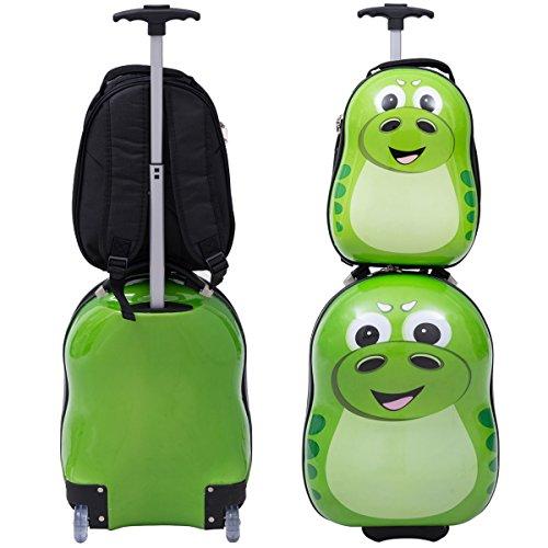 COSTWAY Kinderkoffer + Rucksack Kofferset Kindergepäck Reisegepäck Kindertrolley Kinderreisekoffer Hartschale Trolley Tiermotiv (Grün)