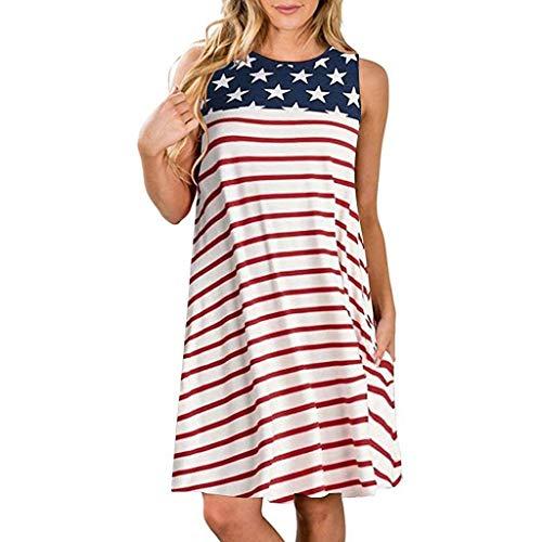 , Bekleidung Schuhe & Accessoires - Kleid Damen Casual Taschen Patriotische Streifen Stern American Flag Printing Tank Kleid, S-XXL ()