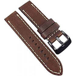 Hunter Vintage Replacement Band Watch Band Leather brown Airman Strap look 21665, width:24mm
