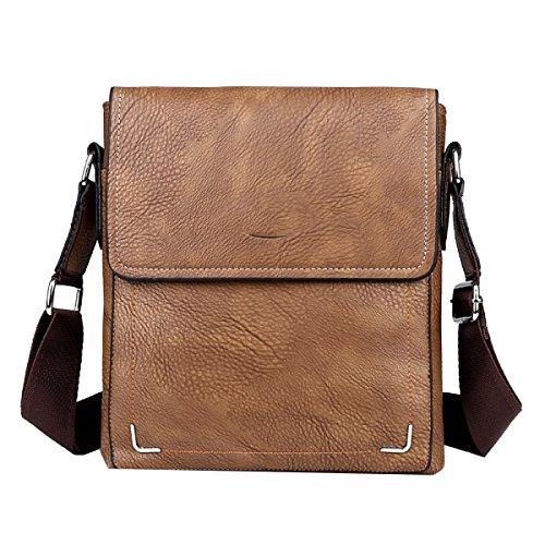 Yy.f Heißes Neue Herren-Diagonalpaket Mode-Taschen Wachs Taschen Schulterbeutel Mannbeutel Praktische Innen 3 Farbe Brown