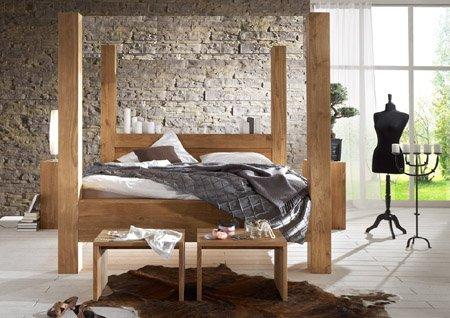 SAM® Design Himmelbett Balder Holz-Bett massiv Wildeiche, geschlossenes Kopfteil, natürliche, widerstandsfähige Oberfläche 160 x 200 cm