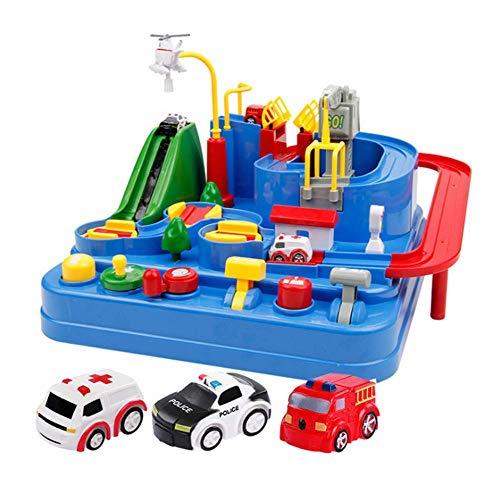 Kinder Spielzeugeisenbahn Set 3D Puzzles Bahngleis Zubehör mit Eisenbahnschienen, Polizeiauto, Krankenwagen, Feuerpolizeiauto für Kinder, Kleinkinder
