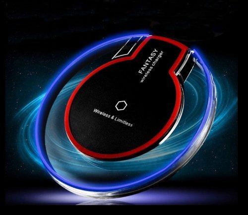 mG Store @ Rotes Wireless Qi Ladegerät LED Drahtlose Induktive Ladestation für Samsung S8 S7 S7 Edge S6 S6 Edge iPhone X 8 8S und alle weiteren Qi-fähigen Geräte