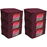 Kuber Industries 6 Piece Non Woven Saree Cover Set, Maroon (COMBONWCMBB15)