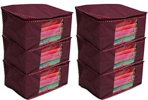 Kuber Industries Non Woven Saree Cover/ Saree Bag/ Storage Bag Set Of 6 Pcs (Maroon) 9 Inches Height