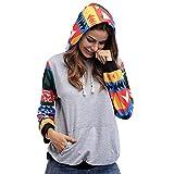 GSYDWY Herbst und Winter Hoodies Printed Frauen Plaid Stitching Long-Sleeved Kapuzenpullover Mantel Frauen