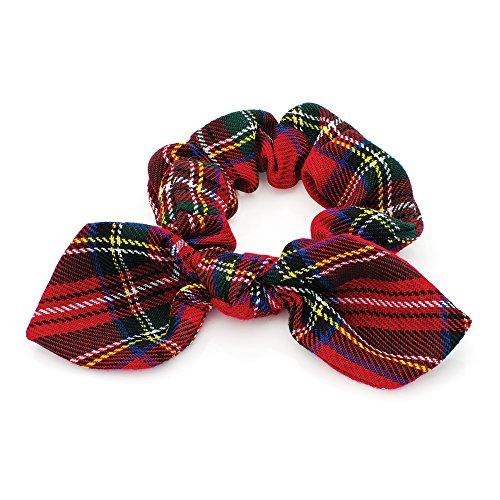 Haarband Haargummi mit Schleife Damen elastisch aus Tartan Stoff, Rot