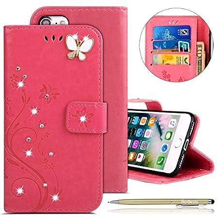 Herbests Kompatibel mit iPhone 6S Plus 5.5 Handyhülle Ledertasche Leder Flip Case Glitzer Bling Strass Blumen…