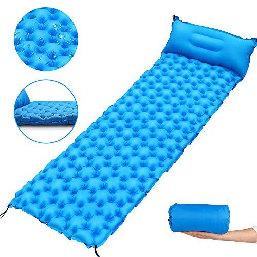 ZXHT Esterilla Inflable para Dormir con Almohada,Colchon Acampada Plegable Ultraligero de Nylon 40D,Esterilla Acampada Camping Impermeable para Viajes,Camping,con Bolsa de Almacenamiento,(Lago Azul)
