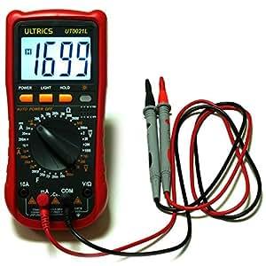 ULTRICS® Multimetro Digitale, Voltmetro Amperometro Amp OHM Meter Diodo Volt Circuito di controllo DC Calibratore di Tester di Capacità di Continuità con LCD Retroilluminazione e Cavi FreeTest